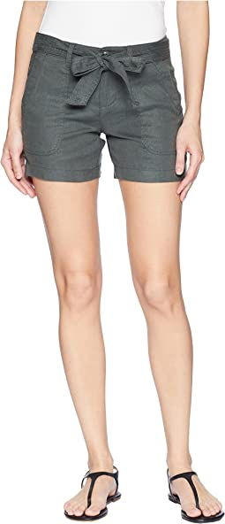 Kinley Shorts with Tie Belt in Soft Stretch Linen in Fennel Green