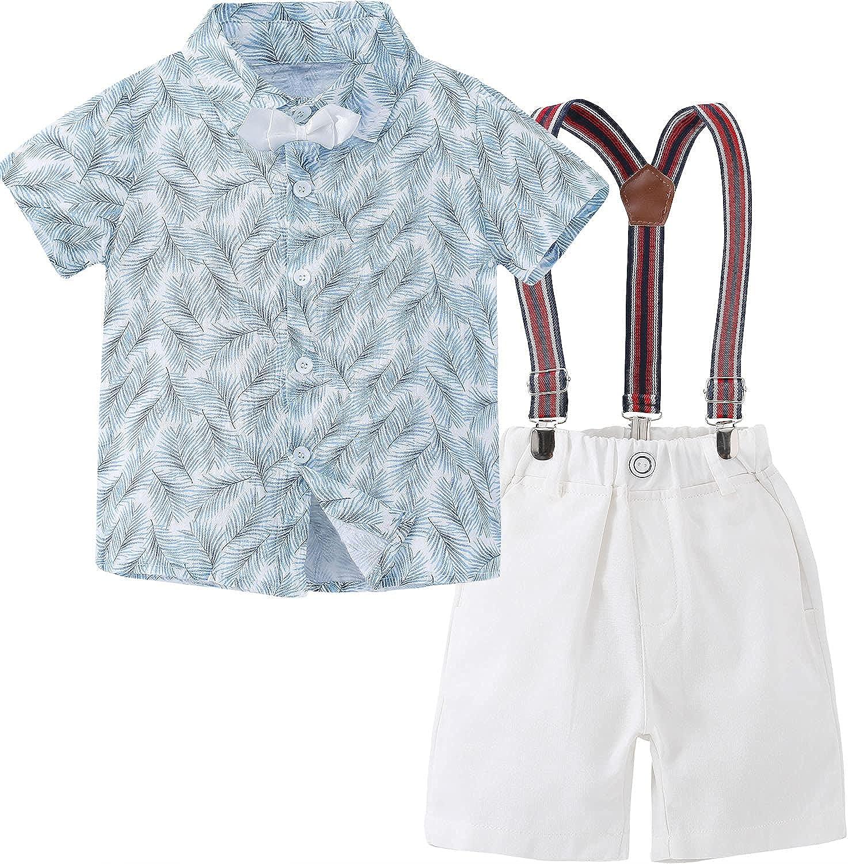 CYCCBabyBoysClothesSet,Short Sleeve SummerShirtwithBowtie&SuspenderShortsGentlemanOutfitsSuitsforToddler
