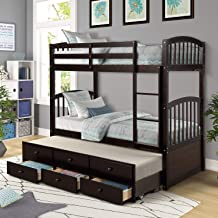 Twin Over Twin Bunk Bed with Safety Rail, Ladder, Twin Trundle Bed with 3 Drawers for Kids, Teens Bedroom, Guest Room Furniture by Harper&Bright Designs (Espresso)