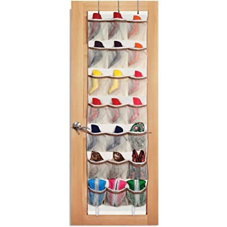 Amazon Com Smart Design Over The Door Organizer W 42 Pockets W Elastic Trim Hanging Hooks Ventilair Mesh Fabric Shoes Pantry Closet Storage Home Organization 21 X 73 Inch Beige
