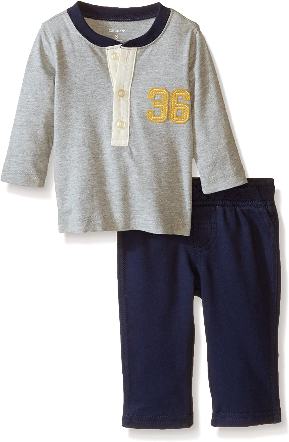 Carter's Baby Boys' 2 Piece Pant Set (Baby) - Heather - 9 Months