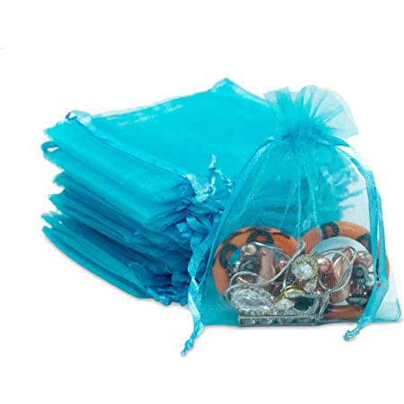 6 x 9 Inch Sheer Fabric Favor and Gift Bags 30 Turquoise  Blue Organza Bags