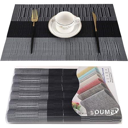 OUME Lot de 6 Sets de Tables PVC Lavables Antidérapant Résistant à l'usure à la Chaleur, Facile à Nettoyer et Stocker, 45cmx30cm