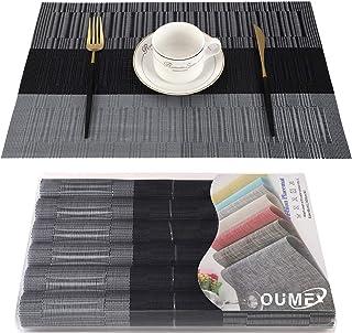 OUME Lot de 6 Sets de Tables PVC Lavables Antidérapant Résistant à l'usure à la Chaleur, Facile à Nettoyer et Stocker, 45c...