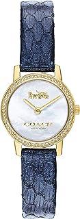 ساعة بمينا بلون ابيض لؤلؤي وسوار كحلي من جلد العجل للنساء من كوتش - 14503364