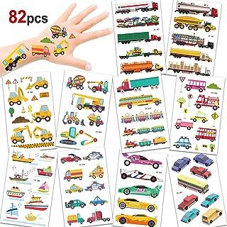 Konsait 82PCS Vehicles Temporary Tattoos Car Fake Tattoo Stickers for Kids Children Girls Boys Party Favors Supplies Kids ...