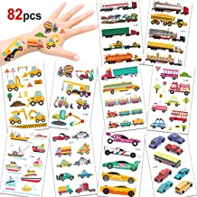 Konsait 82PCS Vehicles Temporary Tattoos Car Fake Tattoo Stickers for Kids Children Girls Boys Party Favors Supplies Kids Birthday Party Bag Filler