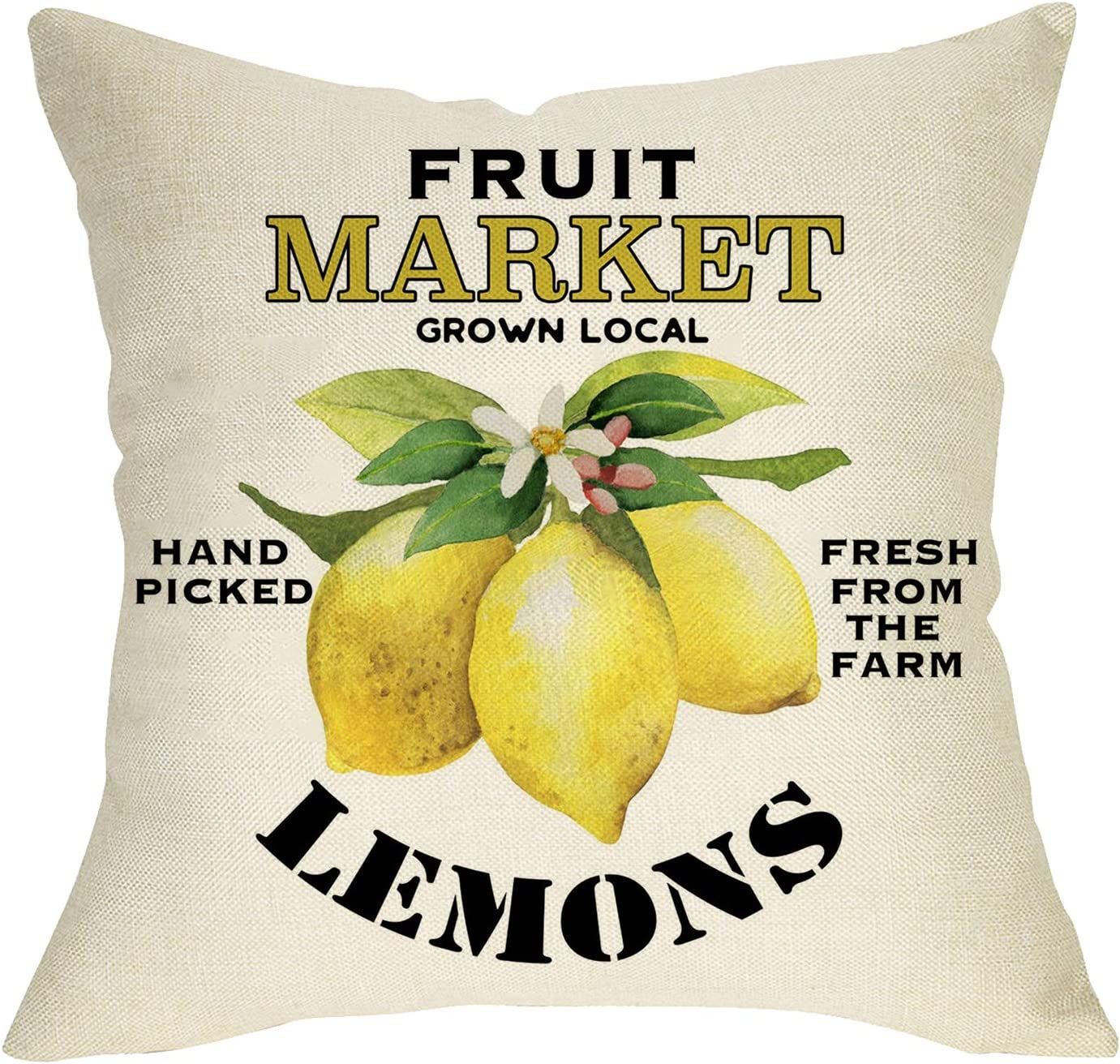 Fbcoo Fruit Market Lemons Decorative Throw Pillow Cover, Farmhouse Summer Cushion Case Decor Sign, Seasonal Home Square Outside Pillowcase Decorations for Sofa Couch 18 x 18 Inch Cotton Linen
