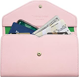 YR Women's Travel Wallets, RFID Blocking Passport Holder Wallet for Women, Cute Leather Wallets with Credit Card Slots and Zipper Pocket, Pink