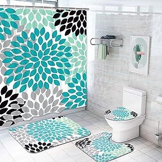 Krelymics 4 Piece Dahlia Pinnata Shower Curtain Sets with Non-Slip Rug, Toilet Lid Cover, Bath Mat and 12 Hooks, Flower Shower Curtain Durable Waterproof Bath Curtain