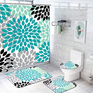 4 Piece Dahlia Pinnata Shower Curtain Sets with Non-Slip Rug, Toilet Lid Cover, Bath Mat and 12 Hooks, Flower Shower Curtain Durable Waterproof Bath Curtain