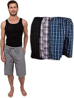 Men's 3 Pack Soft Poplin Woven Pajama & Sleep Jam Cargo Short Lounge Pants