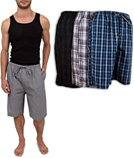Men's 3 Pack Soft Poplin Woven Pajama & Sleep Jam Cargo...