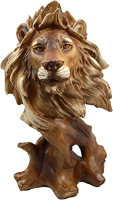 """Atlantic Collectibles Mufasa The Wise Lion King of The Jungle Bust Decorative Figurine 11.25"""" H Resin in Faux Wood Finish"""