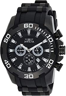 Men's Pro Diver Stainless Steel Quartz Watch with Silicone Strap, Black, 26 (Model: 22338)