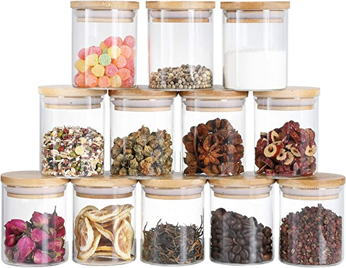 Glass Jars Set, Canning Jars Spice Jars 6 oz Glass Canister with Bamboo Airtight Lids, Kitchen Containers for Coffee Flour Sugar Cookie Candies Grains, 12 pieces