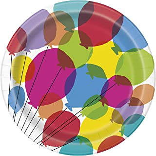 Unique Party 73125 - 23cm Balloons & Rainbow Birthday Paper Plates, Pack of 8