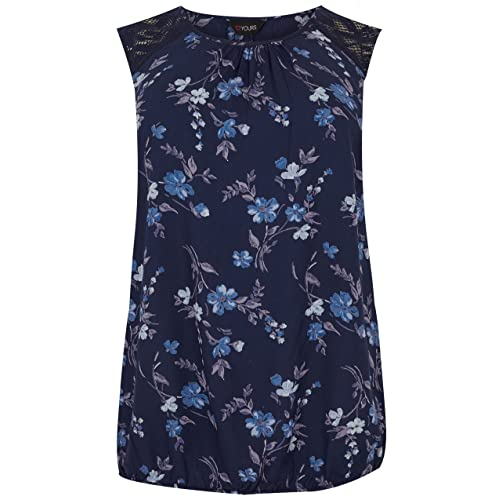f7e7c6bd47 Yours Women s Plus Size Floral Print Sleeveless Bubble Top with Lace  Shoulders
