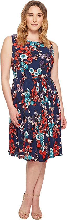Adrianna Papell - Plus Size Botanical Soiree Floral Printed Pleated Fit and Flare Dress, Fully Lined