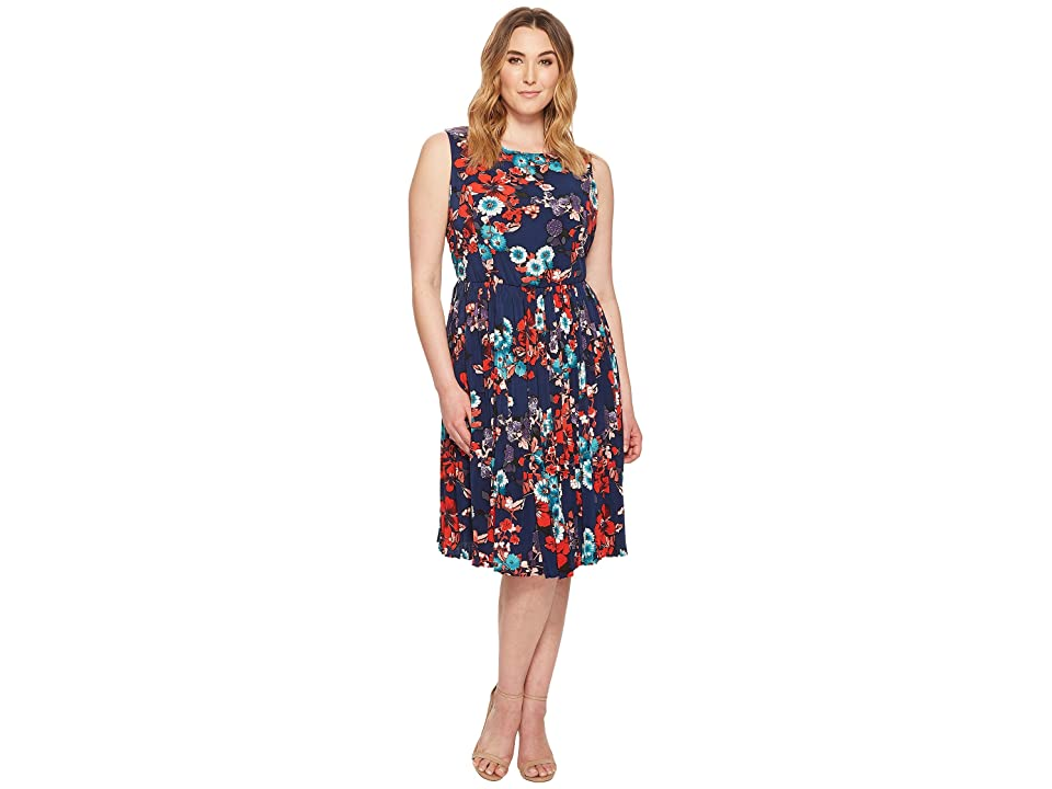 843cc79e341 Adrianna Papell Plus Size Botanical Soiree Floral Printed Pleated Fit and  Flare Dress