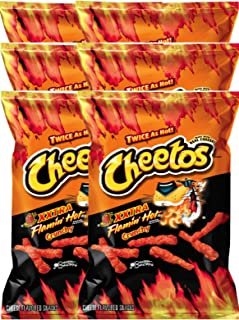 Cheetos Crunchy XXtra Flamin' Hot Net Wt. 3.5 Baggies Snack Care Package for College, Military, Sports (6)
