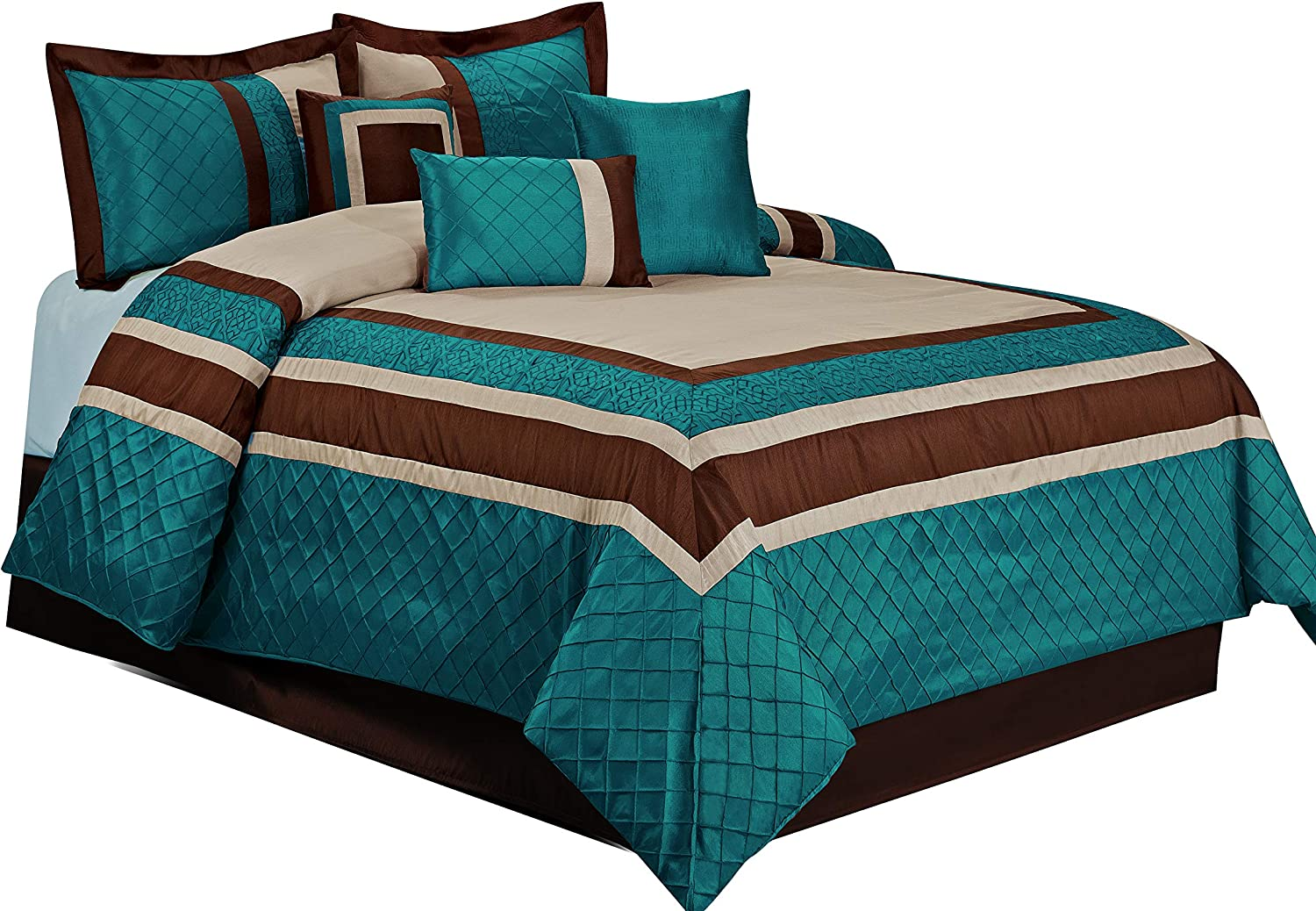 HIG 7 Piece Comforter Set Queen-Teal Series Patchwork Diamond Pintuck-MYA Bed in A Bag Queen Size-Soft, Hypoallergenic,Fade Resistant-1 Comforter,2 Shams,3 Decorative Pillows,1 Bedskirt