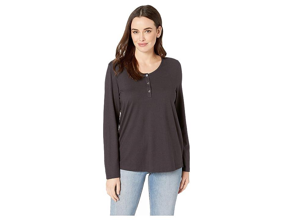 Hanro Sleep Lounge Long Sleeve Henley Shirt (Black Caviar) Women