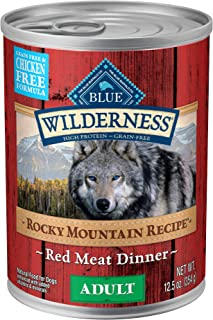 Blue Buffalo Wilderness Rocky Mountain Recipe High Protein Grain Free & chicken free, Natural Adult Wet Dog Food, Red Meat 12.5-oz can (pack of 12)