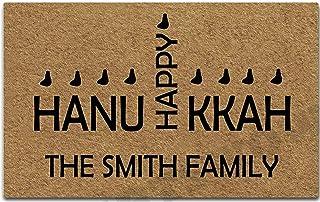 Artswow Doormat Customize Hanukkah Happy Personalized Your Family Name Door Mat Entrance Indoor Outdoor Decorative Non-Sli...