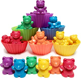 Jumbo Counting Bears with Stacking Cups – Montessori Educational Sorting Rainbow..