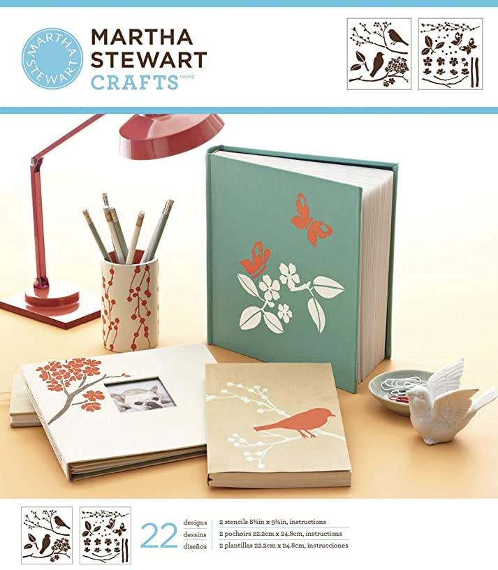 Martha Stewart Crafts Medium Stencils (8.75 by 16.75-Inch), 32256 Birds/Berries (3 Sheets with 22 Designs)