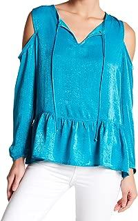 Womens Large Cold-Shoulder Blouse Blue L