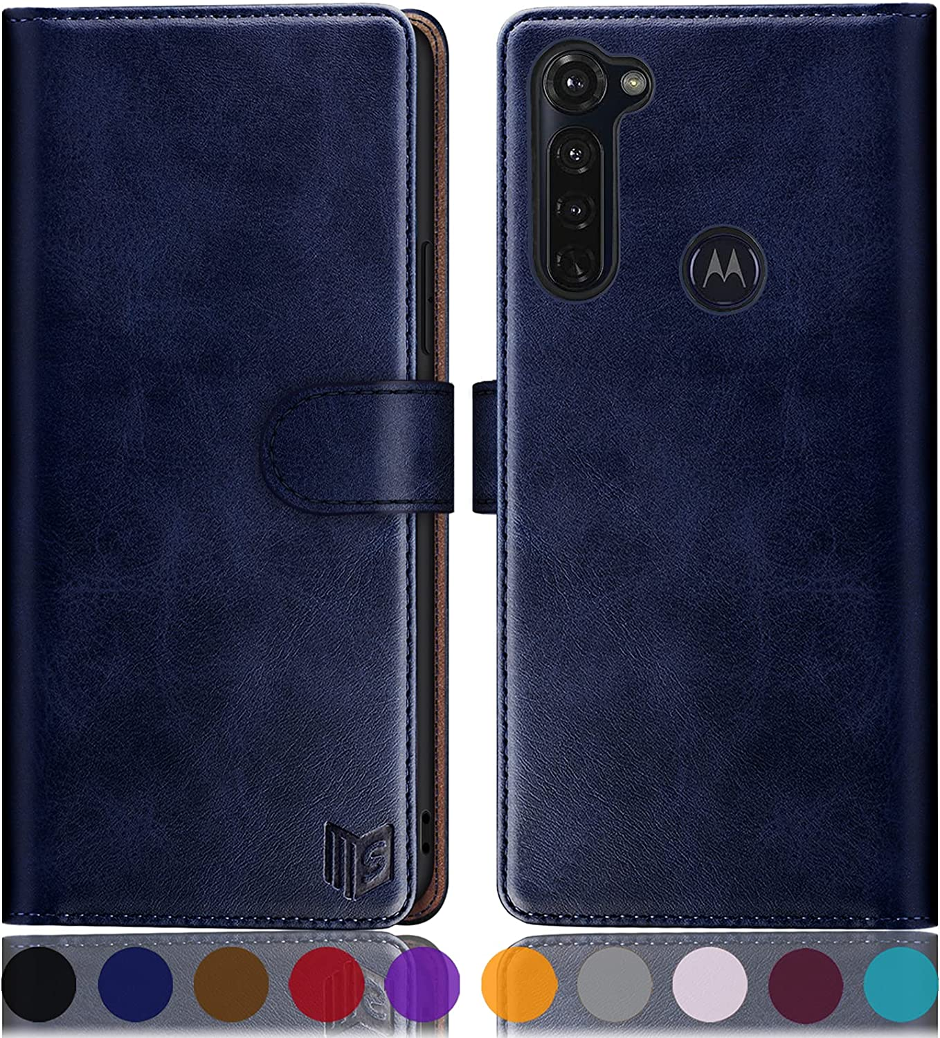 SUANPOT for Motorola Moto G Stylus 2020(Non 2021 Version) with RFID Blocking Leather Wallet case Credit Card Holder,Flip Folio Book Phone case Cover Women Men for Moto G Stylus case Wallet (Blue)