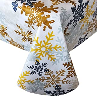"""Newbridge Metallic Snowflake Collage Christmas Vinyl Flannel Backed Tablecloth - Swirling Gold and Silver Snow Flake Print Wipe Clean Easy Care Xmas Tablecloth, 52"""" x 70"""" Oblong/Rectangle"""