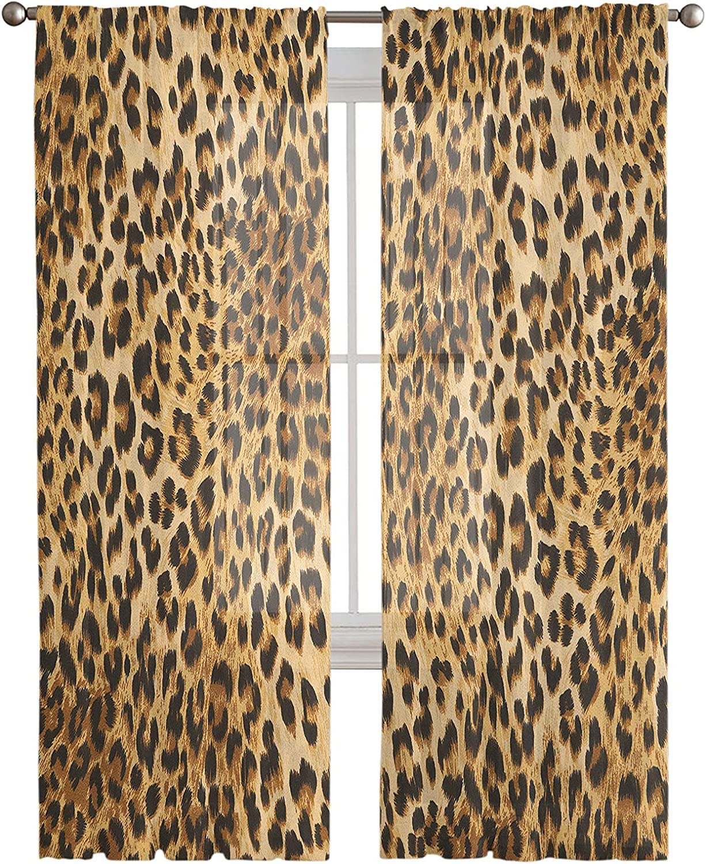 Semi Milwaukee Mall Sheer Window Curtain 84 Long Bright Leop Undulating Inches Elegant