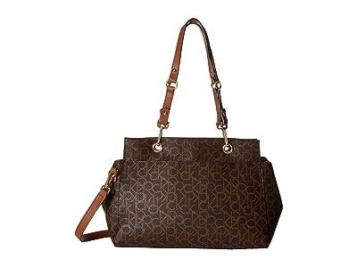 Calvin Klein Sonoma Monogram Satchel (Brown/Khaki/Luggage Saffiano) Satchel Handbags