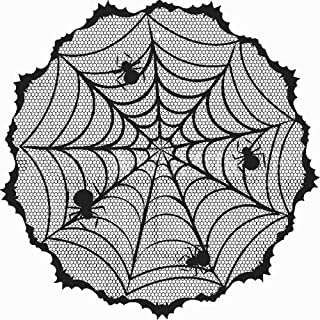 Soochat Halloween Lace Tablecloth, Black Lace Table Topper with Spider Web, Halloween Table Decoration Parties Scary Movie...
