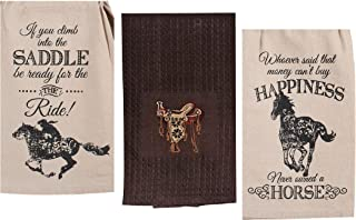 3 Western Themed Decorative Cotton Kitchen Towel Set with Horse Print   2 Retro Vintage Style Flour Sack Towels and 1 Terry Towel for Dish and Hand Drying   by Kay Dee Designs