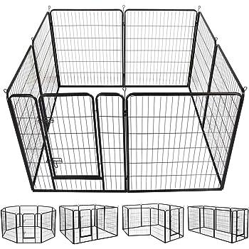 YAHEETECH 24/32/40-Inch 8/16/32 Panel Heavy Duty Pet Playpen Dog Exercise Pen Cat Fence with Door Puppy Rabbits Portable Play Pen,Outdoor/Indoor,Black
