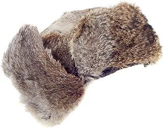Rabbit Fur Ushanka Trapper Hat - Fluffy Warm Russian Fur Winter Cap Brown