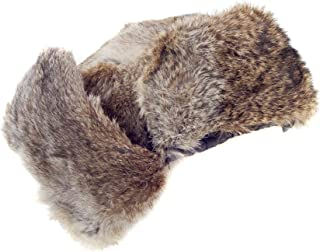 surell Rabbit Fur Ushanka Trapper Hat - Fluffy Warm Russian Fur Winter Cap Brown