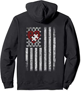 Autism American Flag Hoodie Heart Puzzle Pieces Awareness