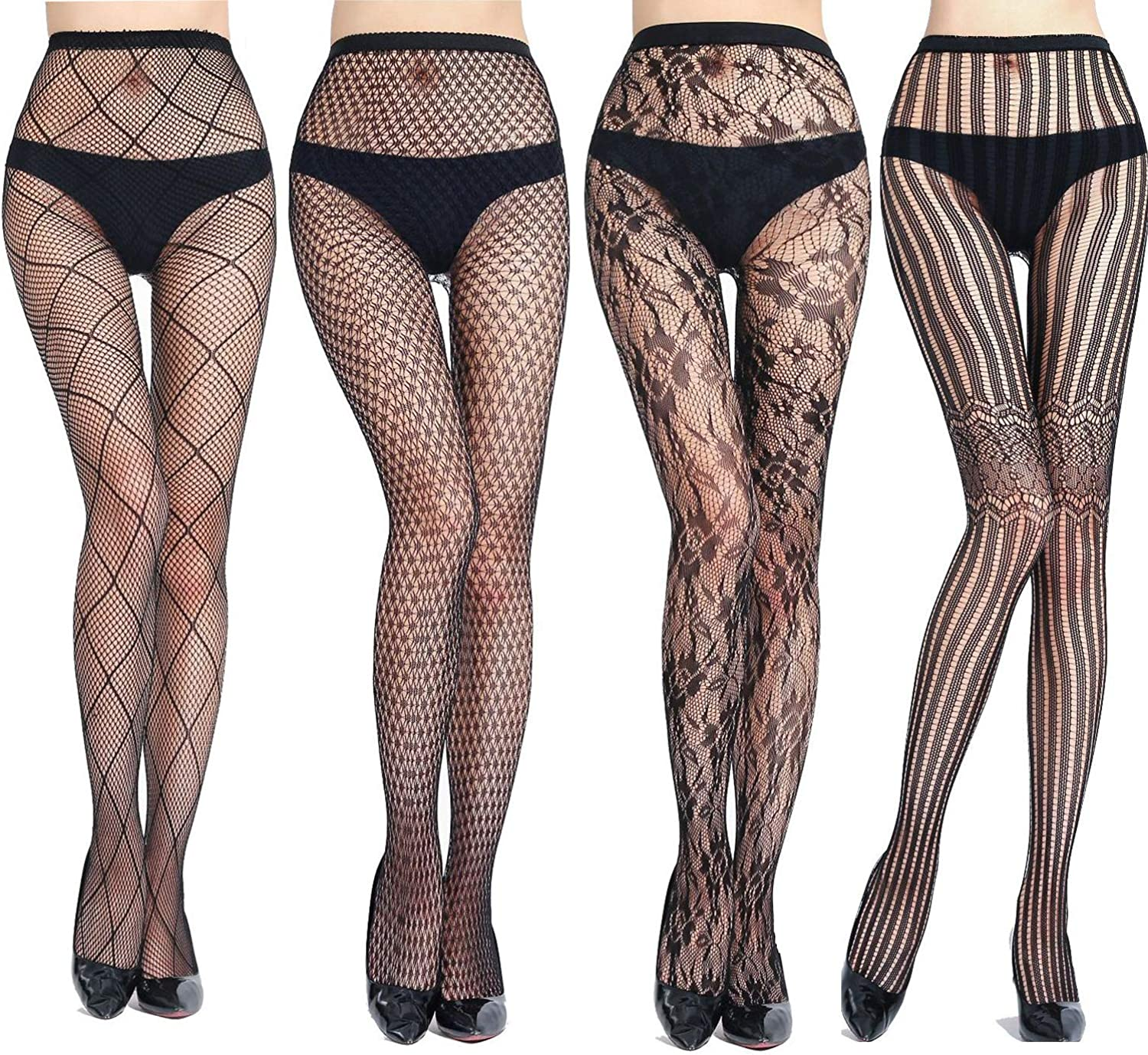 Womens Sexy Fishnet Pantyhose 4 PK Black Lace Stockings Mesh Tights Hosiery (Pack 4)