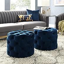 Inspired Home Navy Velvet Ottoman - Design: Lauren | Allover Tufted | Round | Modern Contemporary | 1 PC