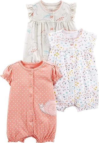 Simple Joys by Carter's Bébé fille Grenouillère En Coton Avec Bouton, Lot de 3