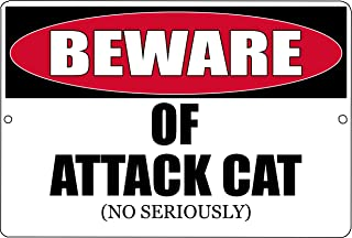 Rogue River Tactical Funny Beware of Attack Cat Metal Tin Sign Kitten Kitchen Wall Decor Warning Sign