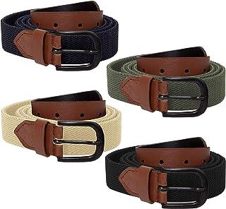 ENZO Mens Canvas Elasticated Belt Stretch Womens Adjustable Buckle Belts