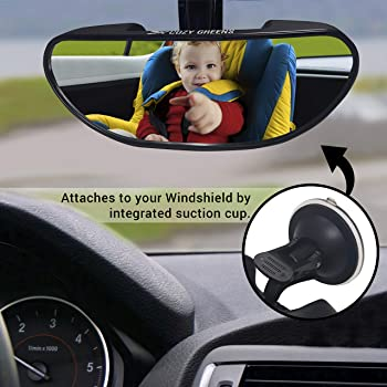 Rearview Baby Car Mirror Windshield Shatterproof Safety Backseat Infant Front Facing, Adjustable Suction Cup 100% Lif...