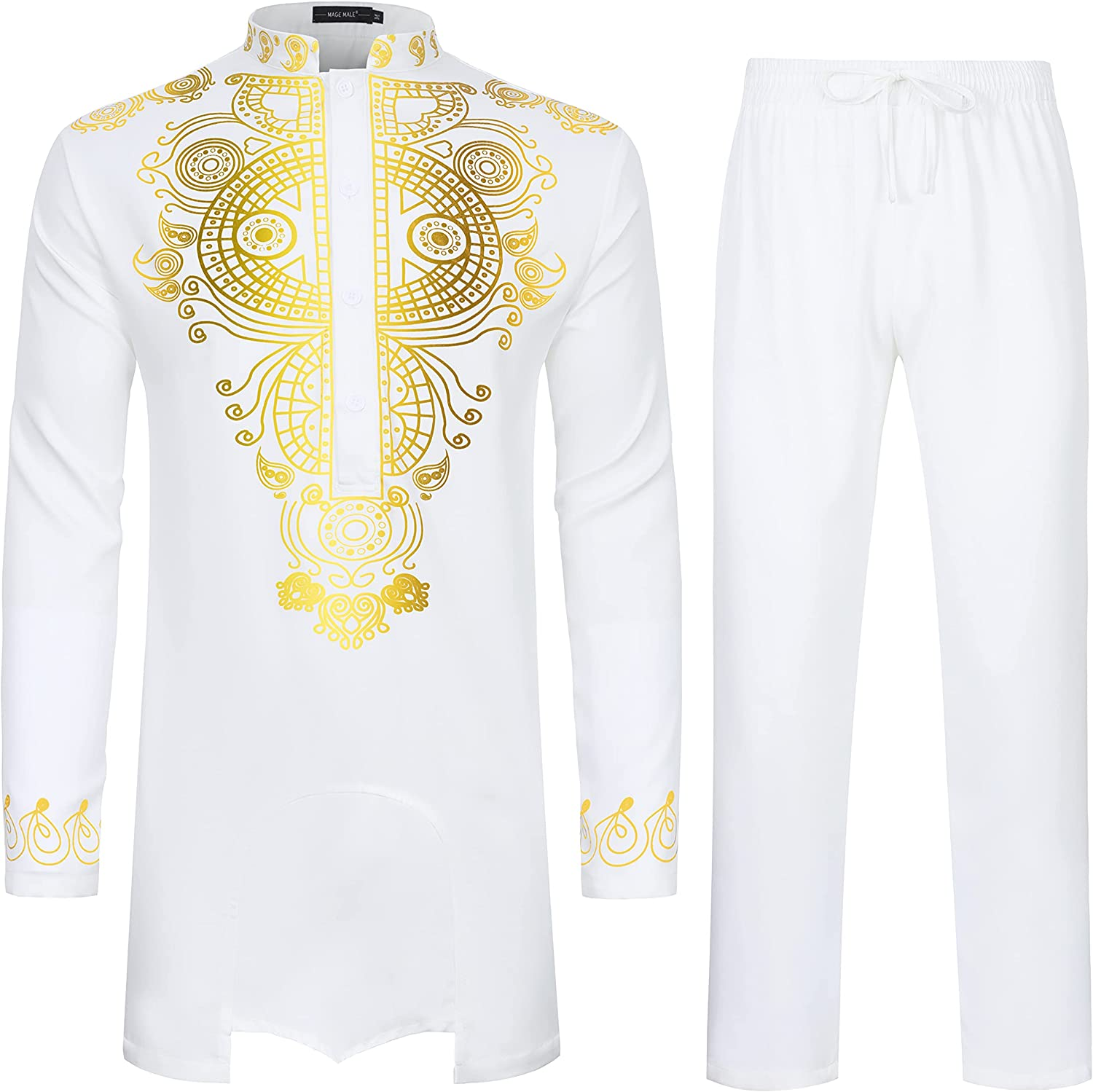 MAGE MALE Men's 2 Piece Slim Fit Suit Set African Luxury Gold Printed Outfit