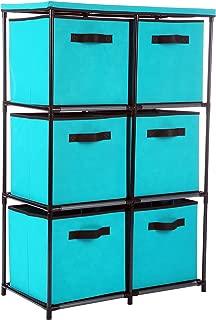 MULSH Storage Shelf Drawer Chest Organizer Units Storage Cabinet 6-Drawer Organizer with 6 Removable Non-Woven Fabric Bins in Turquoise,25